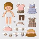 Милая бумажная кукла иллюстрация вектора