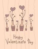 Милая ваза с цветками сердец Счастливый дизайн дня валентинки дополнительный праздник формата карты иллюстрация вектора