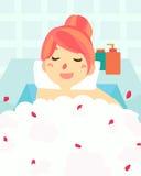 милая ванна женщины в курорте ванны Стоковое Изображение