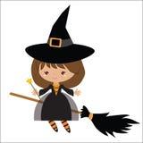Милая ведьма на иллюстрации вектора веника Стоковые Фотографии RF
