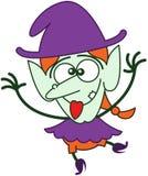 Милая ведьма хеллоуина делая смешные стороны Стоковое Изображение