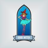 милая ведьма эмблема вектор Иллюстрация вектора