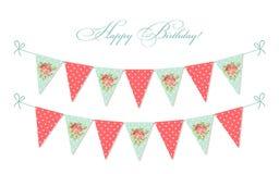 Милая винтажная затрапезная шикарная овсянка ткани сигнализирует идеал для детского душа, свадьбу, день рождения бесплатная иллюстрация