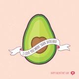Милая влюбленность карточки дня валентинок вы больше авокадоа краснеете Стоковое фото RF