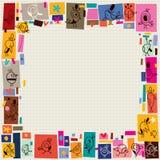 Милая граница doodle шаржа коллажа птиц Стоковые Фотографии RF