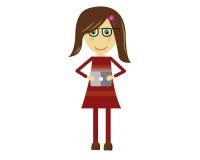 Милая девушка вектора смотря таблетку Стоковые Фотографии RF