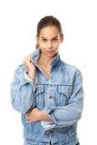 Милая девушка в голубой куртке джинсов джинсовой ткани Стоковая Фотография RF