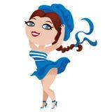 Милая девушка в голубой шляпе иллюстрация вектора