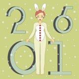 Милая девушка в костюме кролика Стоковое Изображение RF