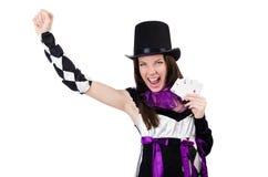 Милая девушка в костюме шута при изолированные карточки Стоковая Фотография