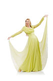 Милая девушка в элегантном зеленом платье изолированном на Стоковое Изображение RF