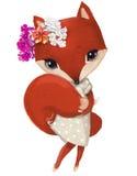 Милая девушка лисы с флористическим венком иллюстрация штока