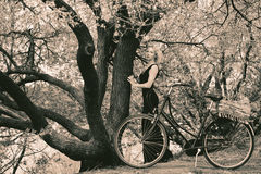 Милая девушка и ретро велосипед Стоковые Фотографии RF