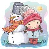 Милая девушка и снеговик иллюстрация вектора