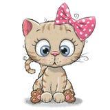 Милая девушка котенка шаржа иллюстрация вектора