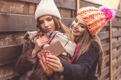 Милая девушка 2 принимает selfie с smartphone Стоковое Изображение