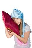 Милая девушка при изолированная подушка Стоковые Изображения RF