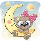 Милая девушка плюшевого медвежонка шаржа иллюстрация вектора