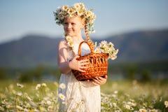 Милая девушка ребенка на поле стоцвета с корзиной цветков Стоковые Изображения RF