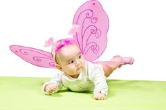 Милая девушка ребенка, одетая в костюме бабочки на зеленой предпосылке Стоковая Фотография