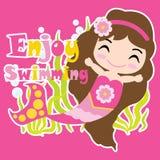 Милая девушка русалки плавает на розовых шарже предпосылки, открытке лета, обоях, и поздравительной открытке Стоковое Изображение RF
