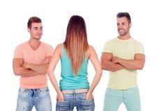 Милая девушка с 2 красивыми мальчиками Стоковая Фотография RF