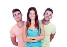 Милая девушка с 2 красивыми мальчиками Стоковое Изображение