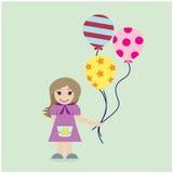 Милая девушка с красочными воздушными шарами на предпосылке Стоковые Фотографии RF