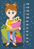 Милая девушка с подарками измеряет стену от 30 до 140 сантиметров вектор Стоковые Фото