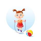 Милая девушка с прыгая веревочкой Иллюстрация вектора