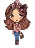 Милая девушка с розовой печатью футболки смычка Стоковые Изображения RF