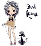 Милая девушка с собакой иллюстрация штока
