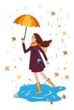 Милая девушка слушая к музыке с зонтиком счастливая женщина Стоковое Фото