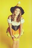 Милая девушка хеллоуина Стоковые Изображения