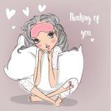 Милая девушка шаржа с подушкой бесплатная иллюстрация