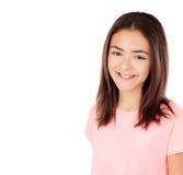 Милая девушка preteenager с розовой футболкой Стоковая Фотография
