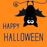 Милая летучая мышь. Счастливая карточка хеллоуина. Стоковые Фото