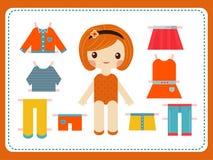 Милая женская бумажная кукла с разнообразием ярких красочных одежд vector иллюстрация Стоковое Изображение