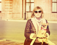 Милая женщина и ее собака чихуахуа на предпосылке природы стоковое фото