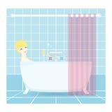 Милая женщина принимая ванну вектор Стоковое Изображение RF