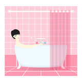 Милая женщина принимая ванну вектор Стоковые Изображения
