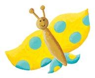 Милая желтая бабочка с голубыми точками Стоковое Фото