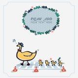 Милая желтая утка в ряд Венок листвы Изолированный вектор иллюстрации Стоковая Фотография