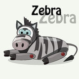 Милая зебра на белой предпосылке также вектор иллюстрации притяжки corel Стоковые Изображения