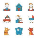 Милая линия семьи установленные значки Стоковые Изображения RF