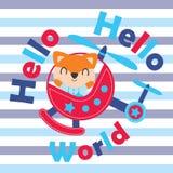 Милая лиса летает вертолет и здравствуйте! иллюстрация шаржа текста мира для дизайна футболки ребенк Стоковые Изображения
