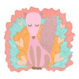Милая и прелестная розовая иллюстрация Fox Foxie иллюстрация штока