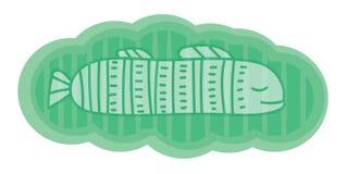 Милая и фантастическая иллюстрация Прозрачные белые рыбы в зеленом облаке Элемент для карточки, знамени иллюстрация штока