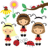 Милая иллюстрация вектора девушки ladybug шаржа Стоковые Фотографии RF