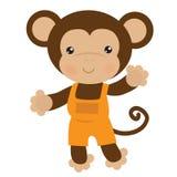 Милая иллюстрация вектора обезьяны мальчика Стоковое Фото